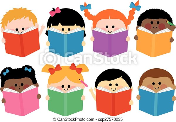 groep, books., illustratie, vector, lezende , kinderen - csp27578235