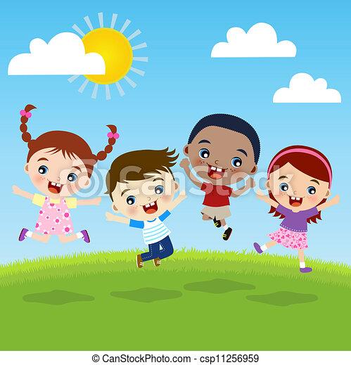 groep, kinderen, geluk - csp11256959