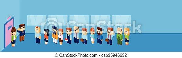groep, menigte, werkkring mensen, zakelijk, wachten, stander, deur, lijn - csp35946632