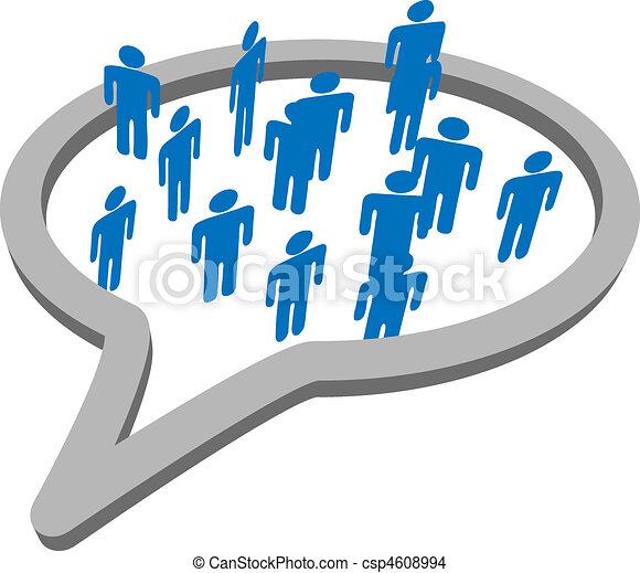groep, mensen, media, toespraak, sociaal, bel, praatje - csp4608994