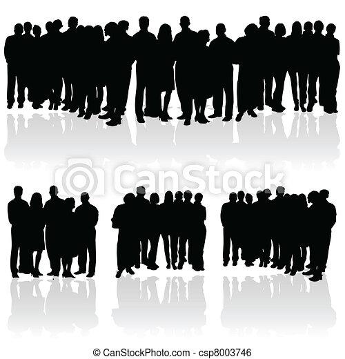 groep, silhouette, mensen - csp8003746