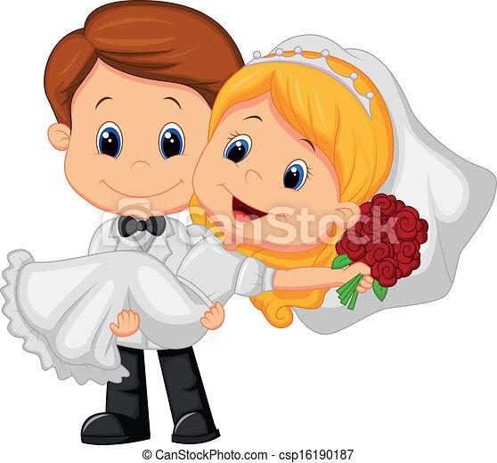 Cartoon-Kinder spielen Braut und Groo - csp16190187