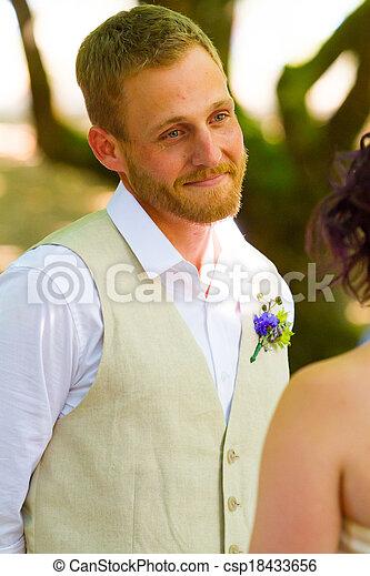 Groom Looking at Bride - csp18433656