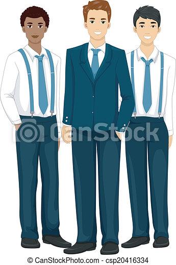 Illustration Featuring Groomsmen Wearing Formal Attire