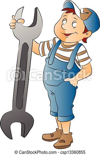 groot, jongen, moersleutel, illustratie - csp13360855