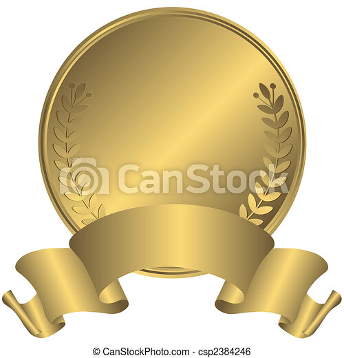 groot, medaille, goud, (vector) - csp2384246