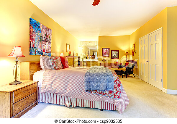 Groot, rood, bed., gele, slaapkamer. Bed, groot, gele ...