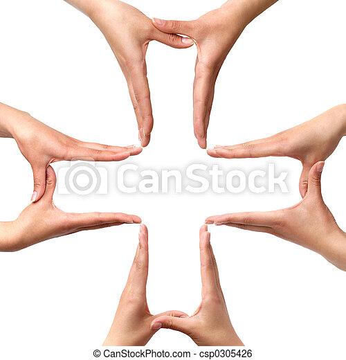 groot, symbool, kruis, vrijstaand, handen, medisch - csp0305426
