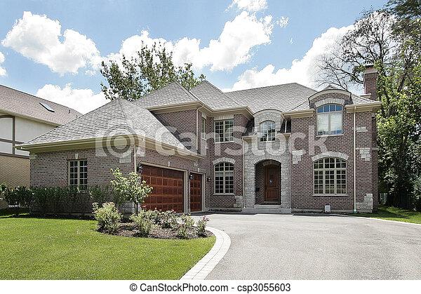 groot, thuis, baksteen, luxe - csp3055603