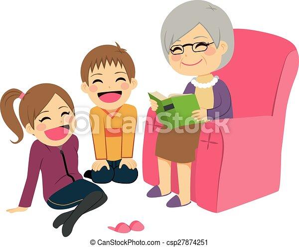 grootmoeder, verhaal, lezende  - csp27874251