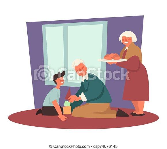 grootvader, grootmoeder, spelend, grootouders, pasteitjes, kleinkind - csp74076145