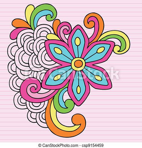 Groovy Doodles Flower Vector Design - csp9154459