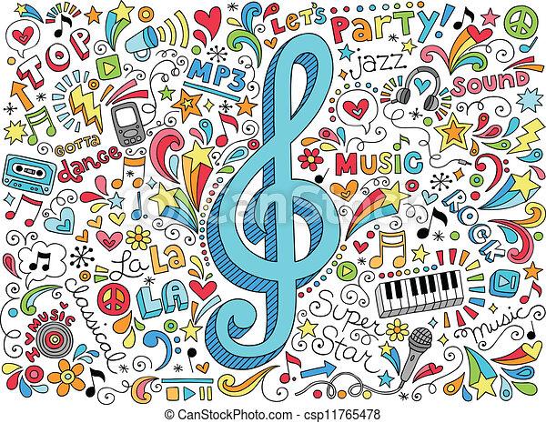 groovy, doodles, notas, música, clef - csp11765478
