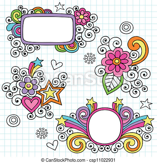 Groovy Frames and Border Doodles - csp11022931