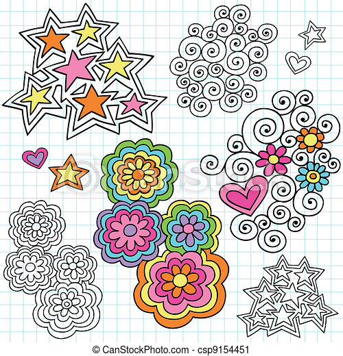 Groovy Psychedelic Notebook Doodles - csp9154451