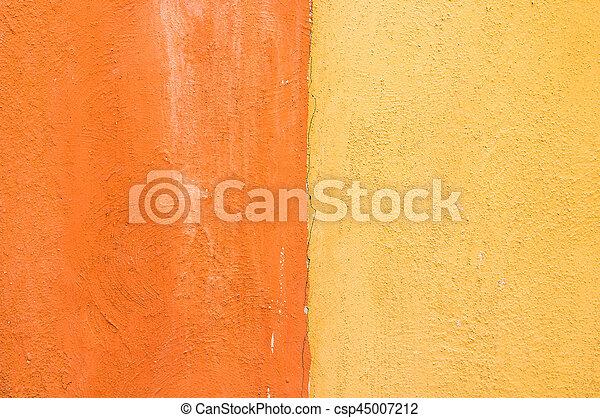 gros plan, béton, couleur, texture, arrière-plan., jaune, orange, mur