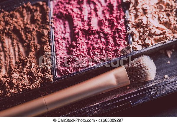 gros plan, coup, poudres, écrasé, brosse, rougir, bronzer - csp65889297