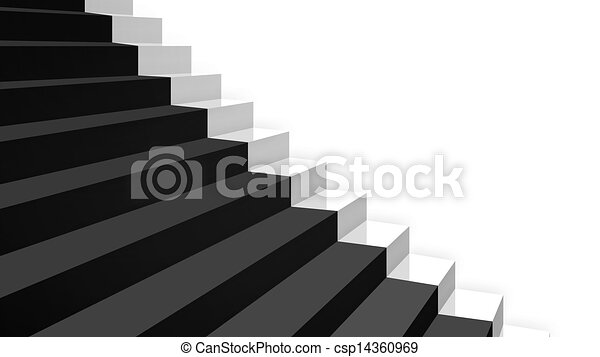 Gros Plan Diagonal Noir Perspective Blanc Escalier Moquette