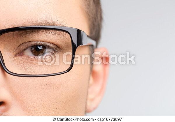 gros plan, image, isolé, glasses., tondu, blanc, homme, lunettes - csp16773897