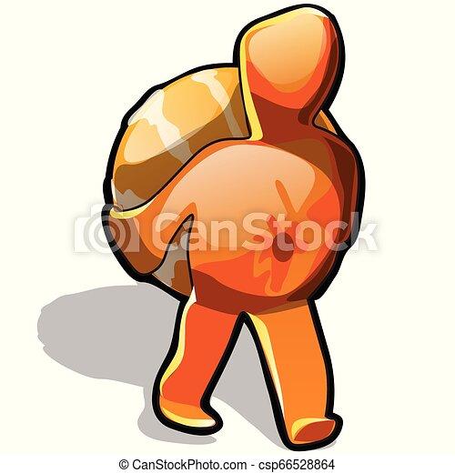 gros plan, lui-même, illustration., isolé, arrière-plan., porte, vecteur, mandarin, blanc, dessin animé - csp66528864