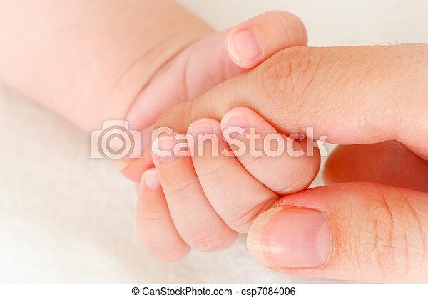 gros plan, mother\'s, baby\'s, main, doigt, tenue - csp7084006