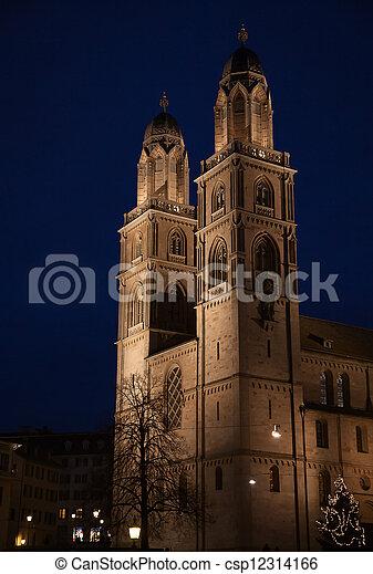 """""""Grossmunster"""" cathedral in Zurich - csp12314166"""