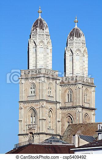 """""""Grossmunster"""" cathedral in Zurich - csp5409492"""