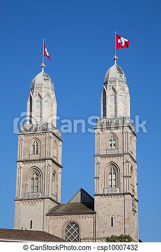 """""""Grossmunster"""" cathedral in Zurich - csp10007432"""