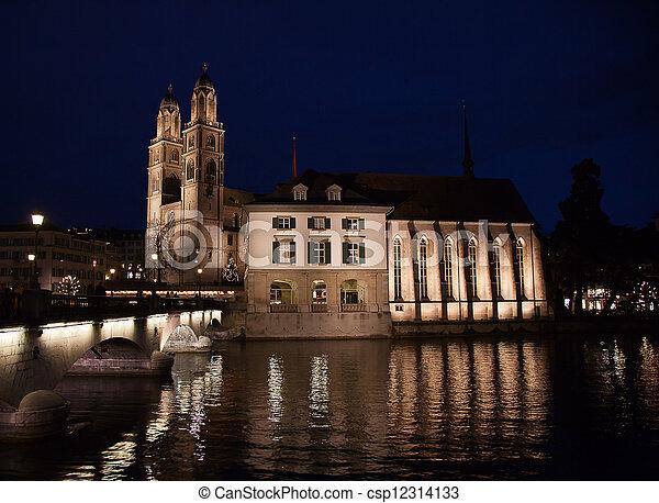 """""""Grossmunster"""" cathedral in Zurich - csp12314133"""