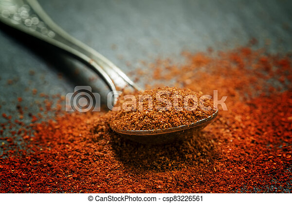 Ground sweet red paprika in a spoon on a dark background, selective focus, shallow depth of field - csp83226561