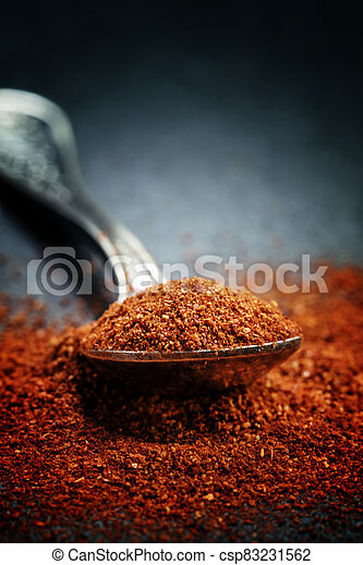 Ground sweet red paprika in a spoon on a dark background, selective focus, shallow depth of field - csp83231562