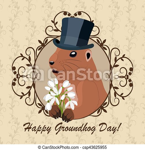 Vintage clip art groundhog best graphic sharing groundhog day greeting card with cute marmot in black hat with rh canstockphoto com cute groundhog m4hsunfo