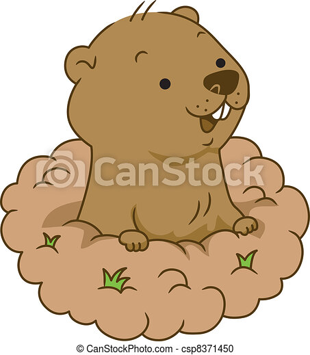 groundhog day illustration of a groundhog coming out of its burrow rh canstockphoto com groundhog clipart images groundhog clipart animated