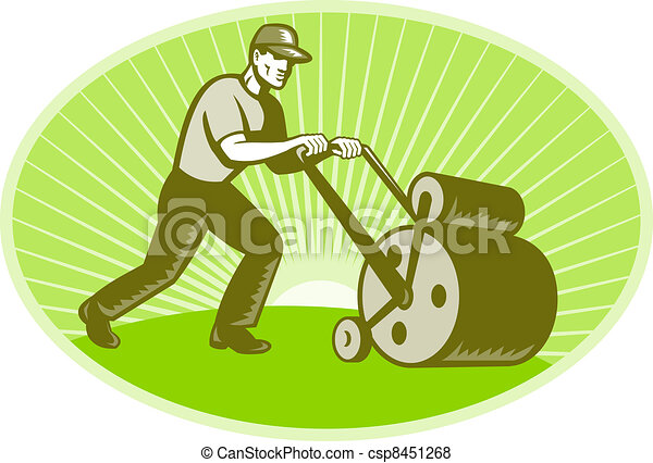 Groundsman Groundskeeper Lawn Roller - csp8451268