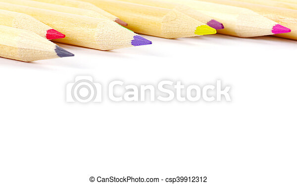 Group Color pencils on white background. - csp39912312