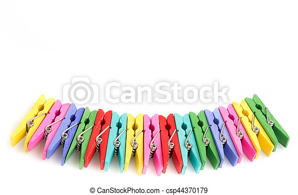Group colorful clothespin on white background - csp44370179