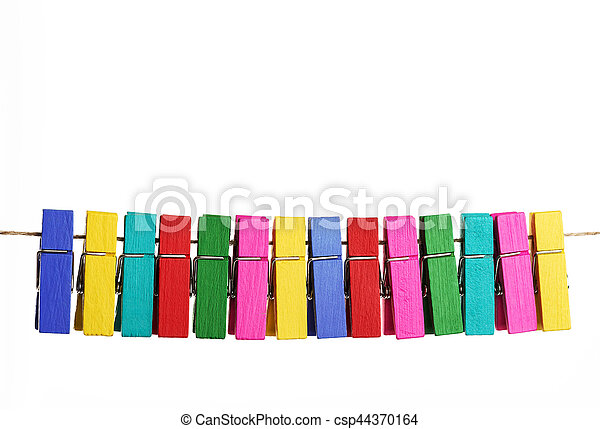 Group colorful clothespin on white background - csp44370164
