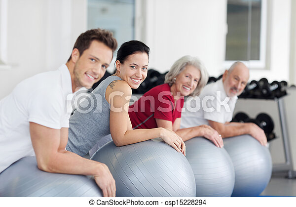 Group exercising in a gym - csp15228294