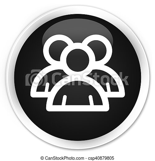 Group icon black glossy round button - csp40879805