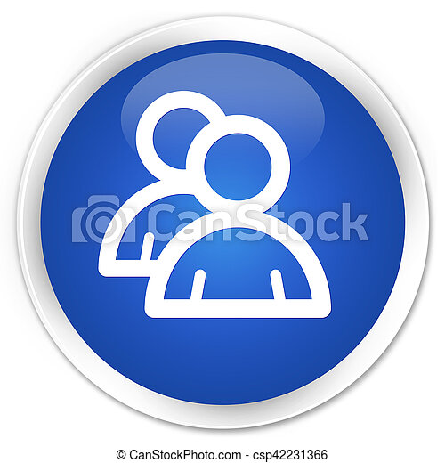 Group icon blue glossy round button - csp42231366