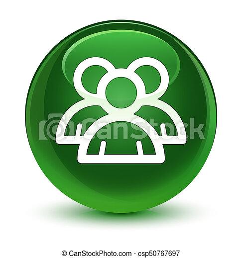 Group icon glassy soft green round button - csp50767697
