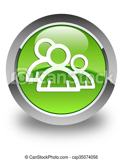 Group icon glossy green round button 3 - csp35074056