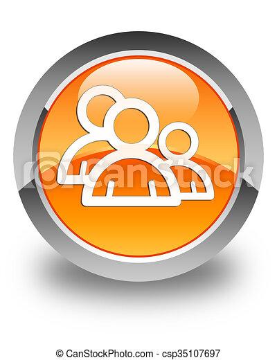 Group icon glossy orange round button 3 - csp35107697