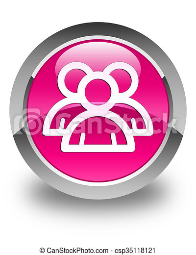 Group icon glossy pink round button - csp35118121