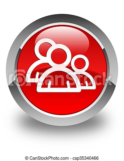 Group icon glossy red round button - csp35340466