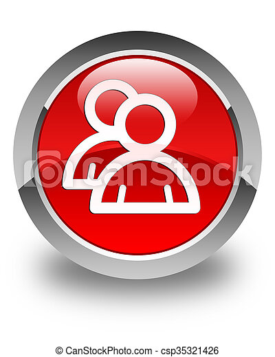 Group icon glossy red round button - csp35321426