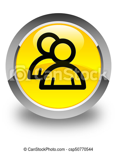 Group icon glossy yellow round button - csp50770544