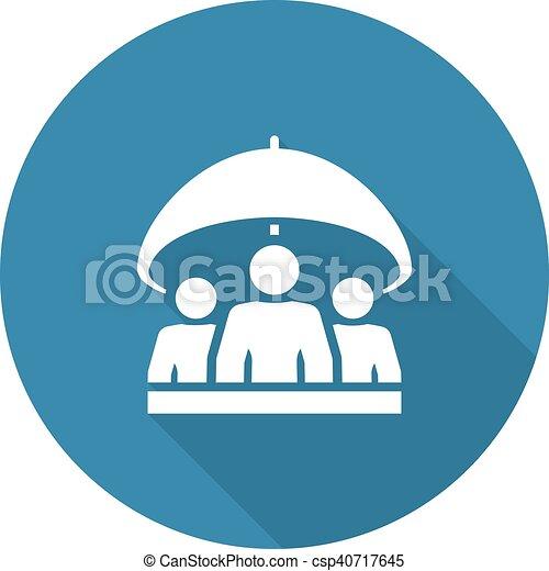 Group life insurance icon. flat design. isolated ...