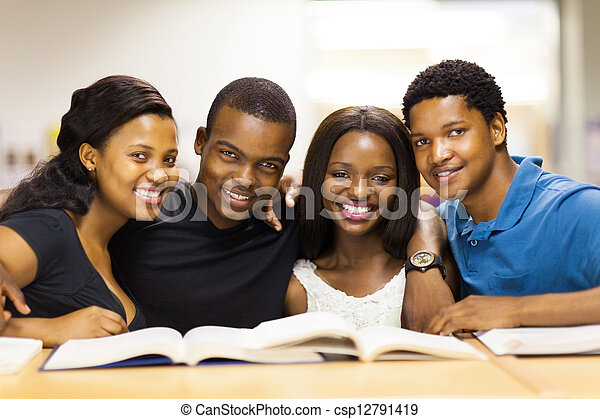 group of african american college students - csp12791419