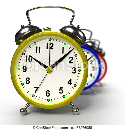 Group of alarm clocks on white background. 3D rendering - csp67276088